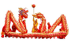 Red de oro-plateado Dragón Equipos Dragon Dance Baile de vestuario para la celebración de las fiestas chinas