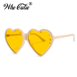 WHO CUTIE 2020 Solid Heart Shaped Sunnies Sunglasses Women Brand Designer Retro Vintage Fashion Cat Eye Sun Glasses Shades OM690