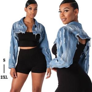 Kadınlar Püskül Ripped Kırpılmış Denim Ceket Sonbahar deliği Uzun Kollu Denim Ceket Streetwear Kısa Denim Ceket Kadın Dış Giyim