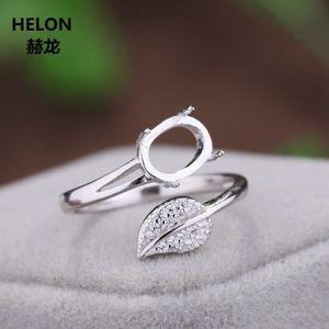 925 plata esterlina 6x8mm Oval Cabochon Semi Monte compromiso de la boda anillo de las mujeres de la hoja encaja ámbar fija al por mayor de la turquesa