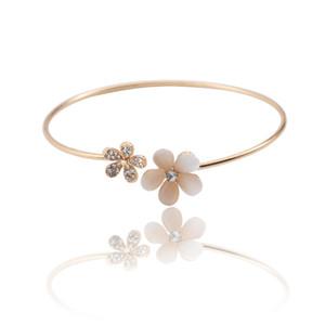 HUMANO FINO 2 couleurs Charme Mode d'Opale Fleurs de cristal ouvert Bracelets Bangles d'or pour les femmes cadeau d'anniversaire Pulseira