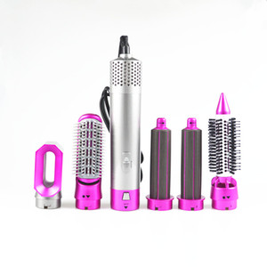 5 In 1 Rotating Brush Hot Air Styler Comb Curling Iron Roll Styling Brush Hair Dryer Blow With Nozzles 3 Heat Setting