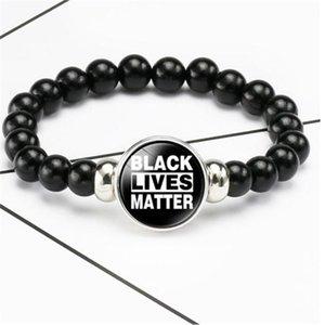 « BLACK VIES MATTER » Bangles JE RESPIRER Bracelets 8 mm en résine noire perles élastiques boutons-pressions Bracelet pour les femmes Bijoux pour hommes.