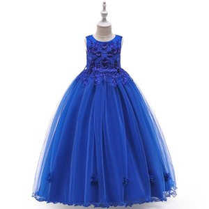 2020 Flower Girl dresses for Weddings Ivory Blue White Little Kids Satin First Communion Dresses Glitz Ball Gown Pageant Dress