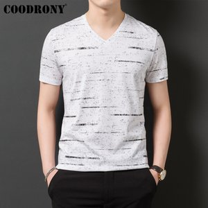 COODRONY T Shirt Men Streetwear Striped V-Neck Tshirt Short Sleeve T-Shirt Men Clothes 2019 Summer Cotton Tee Shirt Homme S95132