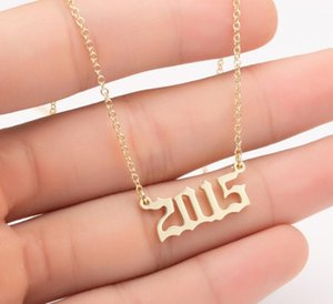 1980-2020 Birth Year Necklace Initial Letter Year Number Pendant Necklace Birthday Gift Charm Stainless Steel Necklace Fashion Jewelry DHL