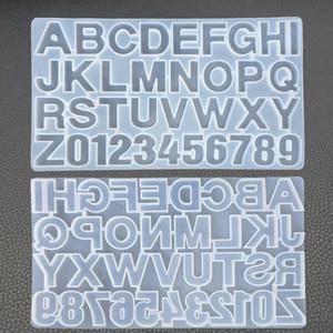 Lettre Résine de silicone DIY Moisissures Moisissures Alphabet Nombre Moisissures silicone pour la réalisation porte-clés Pendentif bijoux sucre gâteau Artisanat moule