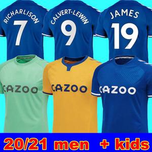 20 21 المنزل بعيدا جيرسي لكرة القدم سيجوردسون RICHARLISON CALVERT-LEWIN الكوت 2020 2021 ايفرتون JAMES 19 لكرة القدم قمصان الرجال الأطفال زي طقم