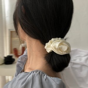 AOMU 2020 Korea French Simulated Silk Satin Big Rose Flower Elastic Headbands for Women Vintage Headwear Hair Accessories