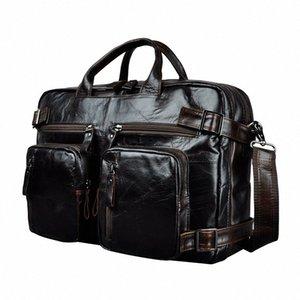 Genuine Leather Man Design Multifunction Purpose Maletas Maletin Business Briefcase 15 Laptop Bag Tote Portfolio Bag K1013 Metal Brief dqVn#