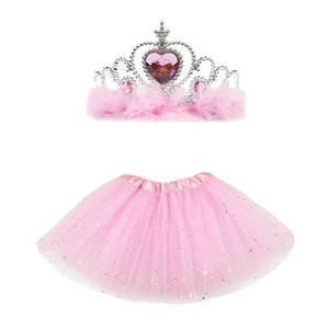 2pcs set Baby Girls Sparkle Tutu Skirt with Crown Children Tulle Skirts and Headwer for Birthday Party