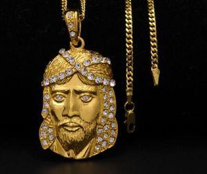 New 14K Gold Plated men women hip hop Water diamonds Jesus portrait pendant JUSES PENDANT