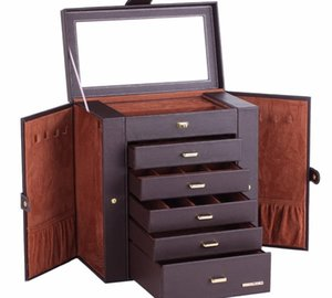Large Jewelry Box Watch Case Beads Earrings Rings Jewelry Armoire Storage Case Black White Pink Leather Trinket Organizer ZG23133