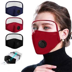 Máscara 2 en 1 protector de cara máscara de pantalla de plástico de aislamiento máscaras de protección de la cara llena anti-niebla de aceite protectora máscara de respiración VALV DHE458