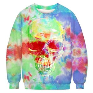Tie Dye Color with Skull Pattern Pizza Fruit Woman Hoodies Pullovers Fashion Casual Outfits Sweatshirt Streetwear
