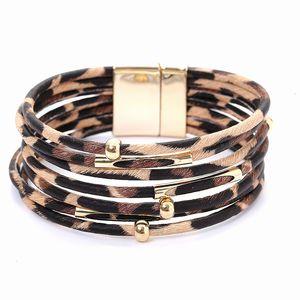 Pulseiras Bangles For Women Men Leopard Multilayer couro wrap Charm Bracelet Com Magnetic Clasp Bijuterias New Bijoux