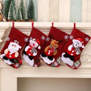 Presente de doces Impressão presente Meias do Natal Bolsa Snowman Papai Noel Bolsas titulares Meias Xmas Ornamento de suspensão Decorações de Natal DHD1613
