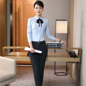 Elegant Blue Women Pantsuits Work Wear Suits With 2 Piece Tops And Pants For Ladies Pants Suits Blouses & Shirts Sets Plus Size