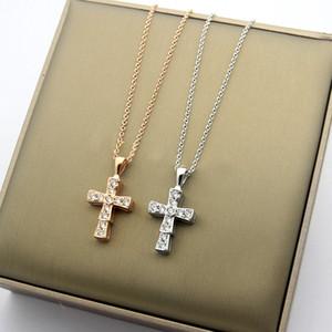Europe America Fashion Lady Titanium steel B Letter 18K Gold Necklaces With Full Diamond Snakelike Cross Pendants 3 Color