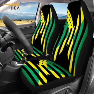 HUGSIDEA Vintage USA Jamaica Flag Design Set of 2 Automobile Seats Protector Stretch Cloth Vehicle Seat Covers Comfort Washable