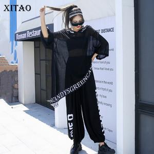 XITAO Letter Patchwork Two Piece Set Women Fashion Casual Hooded Elastic Waist 2020 New Autumn Plus Size Women Clothes ZYQ4337