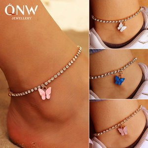 New European and American creative shiny rhinestone anklet simple butterfly pendant foot ornaments female tide beach foot ornaments