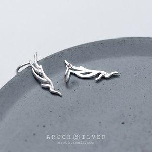 Hvw18 SS925 pendiente de plata y aretes japonesa de la mujer y el estilo de Corea de la hoja literaria clip de oreja sencilla hoja de pendientes cortos oído fila Wom