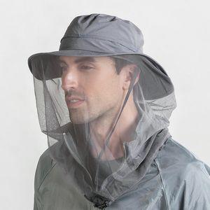 Außen 360 Mosquito-proof-Hut-Fischen Regenschirm-Hut Sonnenschutz mit Mosquit Net für Männer Frauen kampierende Caps Breath