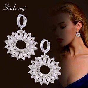 SINLEERY elegante große Loch-Blumen-Tropfen-Ohrring-Frauen Silber Farbe klar SSP Zirkonia Hochzeit Ohrringe Frauen Schmuck ES727