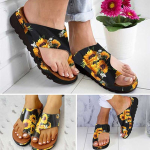 Women PU Shoes Comfy Platform Flat Sole Ladies Casual Sunflower Soft Big Toe Foot Correction Sandal Orthopedic Bunion Corrector