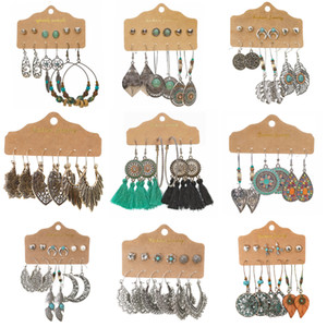 45 Pairs Boho Earrings Sets Women Vintage Jewelry Set Fashion Designer Exaggerated Accessories Alloy Inlaid Artificial Gems Drop Earring