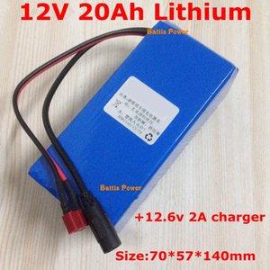 القدرة الحقيقية 20AH 12V 20000MAH الليثيوم محمول حزمة بطارية ليثيوم أيون للكاميرا المنتجات الرقمية المتكلم مصغرة + 12.6V 2A شاحن