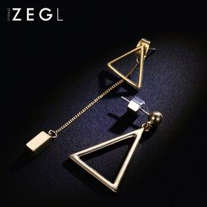 Hot Sale Korean temperament geometric earrings long earrings female personality simple and versatile asymmetrical triangle