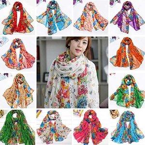 Bandanas Fashion Women Flower Floral Print Soft Long Wrap Scarf Stole Shawl Xmas Gift