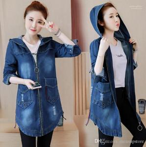 Fit Hooded Zipper Pockets Designer Autumn Long Jacket Coats Plus Size 5XL Women Denim Blue Jean Jackets Slim