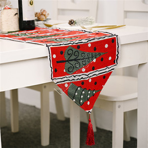 180 * 35cm di natale Runner Cotone e Lino Tovaglia Christmas Table Flag Christmas Party Table tavolino della decorazione Forniture 2020 D9807