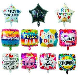 18 Inch Spanish FELIZ CUMPLEANOS Balloons Inflatable Birthday Party Balloon Heart Star Square Decorations Helium Foil Balloon Baby Birthday