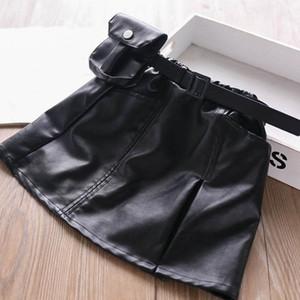 niñas bolsillo de la manera faldas de cuero de la PU niños faldas correa de la manera monedero muchachas de la falda faldas de tubo niñas ropa de niños ropa B2088