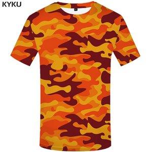 camisa de camuflagem KYKU Laranja T Camo Homens T-shirts Casual Militar Anime roupas coloridas camisetas 3d gótico camisetas Impresso