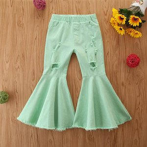 INS 2020 Autumn hole girls jeans denim kids jeans girls flared trousers fashion kids leggings girls clothes baby pants 1-6Y B2086