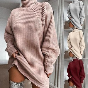 Winter Casual Loose Long Sleeved High Collar Pullover X-Long Sweaters Dresses Fashion Women Sweater Solid Color Women Sweater Autumn and