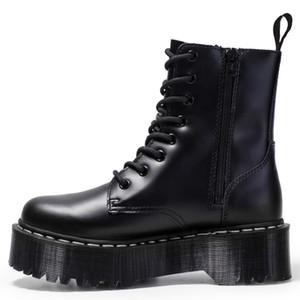 2022 Mujeres de invierno botas de plataforma de cuero genuino botas Martens Negro botas del tobillo de la motocicleta gruesa plataforma del talón arranque en caliente de la felpa de la venta caliente Nueva