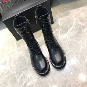 2020 Top Quality Pattern Leather Knight Boots Lace-up Boots Martin Shoes for Women Fashion Motorcycle boots