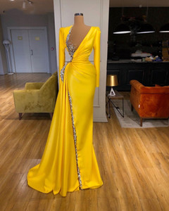 2020 New Sexy Illusion Yellow Mermaid Formal Evening Dresses Long Sleeves Shiny Crystals Beaded V Neck Prom Dress Party Gowns Full Length