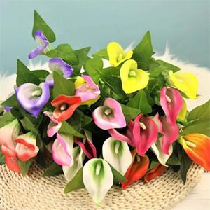 "Fake Calla (5 heads bunch) 15.75"" Length Simulation PE Alocasia Lily for Wedding Home Decorative Artificial Flowers"