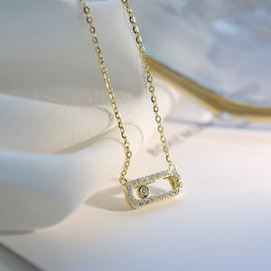 Halsketten für Frauen 2020 neue Clever Ellipse Anhänger Empfindliche Vertraglich Schmuck Weißgold Farbe + CZ Art und Weise Jewellry KBN374