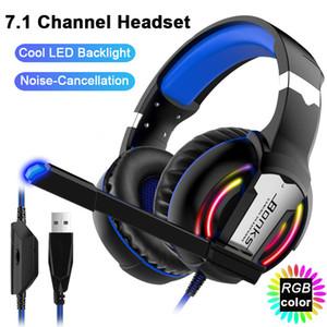 Professional Gaming Headset 7.1 Sound Channel Stereo Casque Игровые наушники с микрофоном светодиодным для ПК портативного компьютера