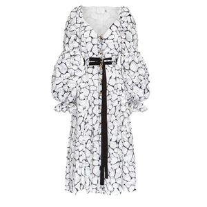 Australian autumn black and white flower bubble short sleeve waist band dress skirt skirt