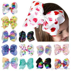 JoJo Siwa 8 pouces cheveux pour les filles Bows Imprimer Ruban bowknot cheveux clip Love Day hairgrips Mode Coeur Valentine Accessoires cheveux HC120