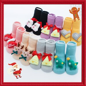 2020 Winter Christmas Baby Shoes Socks Children Infant Cartoon Socks Non-Slip Xmas Gift Kids Floor Cotton Cartoon Doll